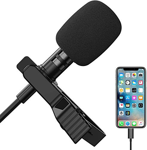 Lavalier Lapel Microphone for iPhone, Professional Omnidirectional iPhone Microphone Audio Video Recording for iPhone 11 Pro X Xr Xs Max 8 8plus 7 7plus 6 6plus, iPad, iPod for YouTube, Vlog, Podcast