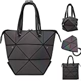 Luminous Geometric Handbag for Women Large Tote Bag Shard Lattice Design Holographic Top-Handle Bags Ladies Shoulder Bag,Colour Changing,Shining in the Light,4 in 1 Fashion Deformation Style (Color-1)