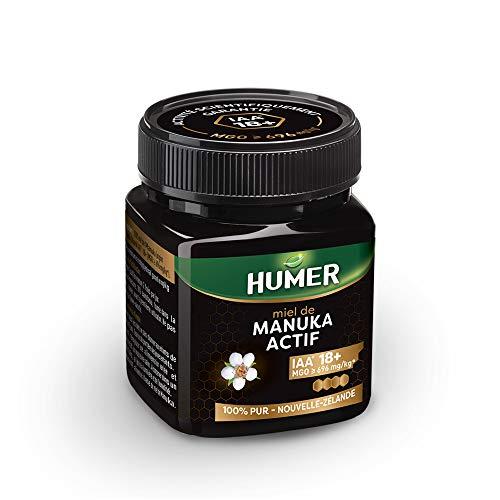 Humer - Miel de Manuka Actif IAA® 18+ - Plus haut niveau d'activité - Minimum 696mg/kg de méthylglyoxal - 250g