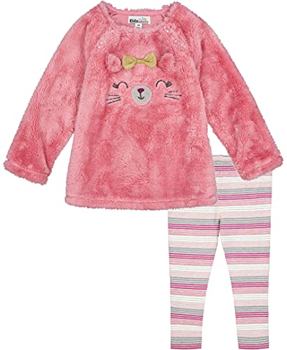 Kids Headquarters Baby Girls' 2 Pieces Leggings Set, Pink Sherpa/Stripes, 12M is $13.93 (63% off)