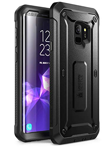Samsung Galaxy S9 Case, SUPCASE Full-Body Rugged Holster Case Built-in Screen Protector Galaxy S9 (2018 Release), Unicorn Beetle PRO Series - Retail Package (Black) (Renewed)