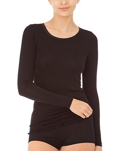 CALIDA Damen True Confidence Top Langarm Unterhemd, Schwarz, 42