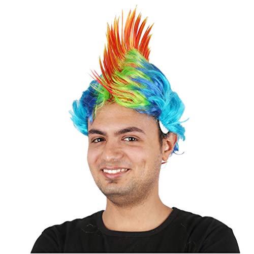 Halloween Maskerade Perücken Punk Frisur Hahnenkamm Haar Perücke Kopfbedeckung Mohawk Mohican Frisur für Männer Frauen Neue Mode Keine Spitze Weihnachten Kostüm Karneval (Orange Blau)