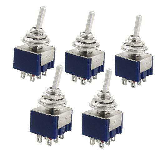 X-DREE 5 unidades CA 125V 6A Amperios ON/OFF/ON 3 posiciones DPDT Interruptor de palanca(5 Pcs AC 125V 6A Amps ON/OFF/ON 3 Position DPDT Toggle Switch