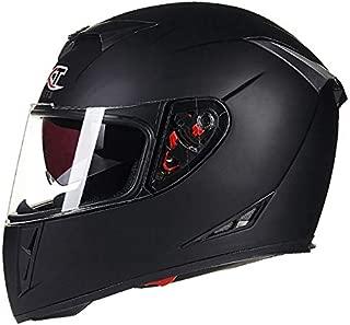 XuBa Men Flip-up Dual Lenses Full-Face Motorcycle Helmet Antifogging Motorbike Riding Helmet Matte Black XXL