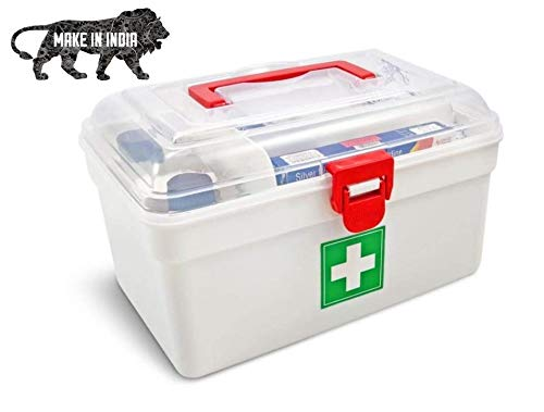 KanakMall Multi-layer First Aid Kit Medicine Storage Box And Medical Box (White) - Small VOCAL FOR LOCAL ATMANIRBHAR BHARAT CAMPAIGN