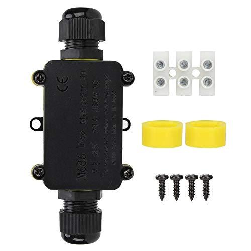 ABS-Kunststoff Staubdicht Wasserdicht IP68 Anschlussdose Extrudierte Industriestruktur Outdoor Universal M686 Schwarz Anschlusskabel mit zwei Kabelanschlüssen für LED Straßenlaterne