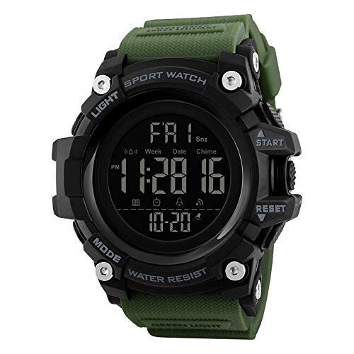 V2A Digital Boys' & Men's Watch (Black Dial Army Green Colored Strap)