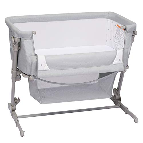 Kinbor Baby 2-in-1 Bassinet and Bedside Sleeper Lightweight Baby Bed Cribs Baby Bed to Bed with Storage Basket Adjustable Portable Bed for Infant Boys Girls