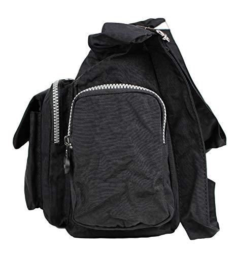 Bag Street Damen Nylon Shoppertasche Umhängetasche Crossover Bag Schultertasche Schwarz