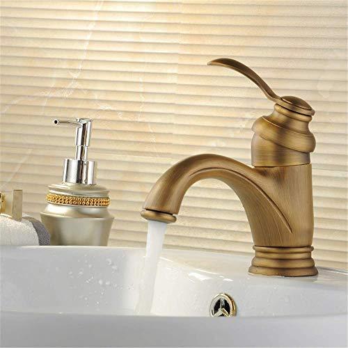Bronce Tipo de tetera antigua Oro/Negro/Plata/Cepillado Mezclador de agua fría y caliente Grifo del lavabo del baño Grifo de la cocina Lavabo de una manija, dibujo de alambre