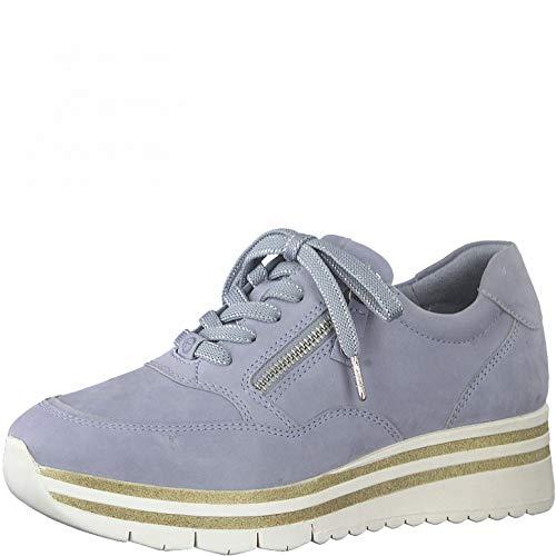 Tamaris Mujer Zapatillas, señora Bajo,Cuña de tacón,Zapatos Bajos,con Cordones,Zapatos de Calle,Zapatillas de Deporte,Sky Pearl,37 EU / 4 UK