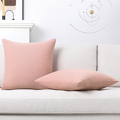 Mixhug Decorative Linen Throw Pillow Covers, Farmhouse Cushion Covers for Couch and Bed, Blush Pink, 24 x 24 Inches, Set of 2