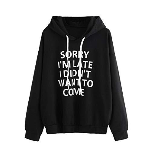 Sudaderas Mujer Marca Fossen Adolescentes Chicas Sudadera con Capucha de Manga Larga Camiseta Blusa - Sorry I'm Late I Didn'T Want TO Come