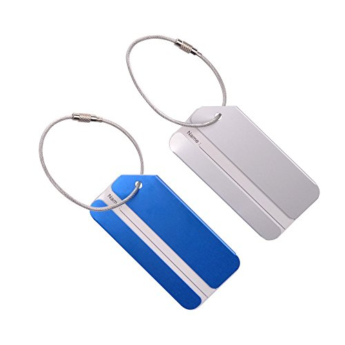 KLOUD City 2 pcs Metal Travel Accessories Square-Shape Luggage tag/Identifier with Name Card (Blue & Silver)
