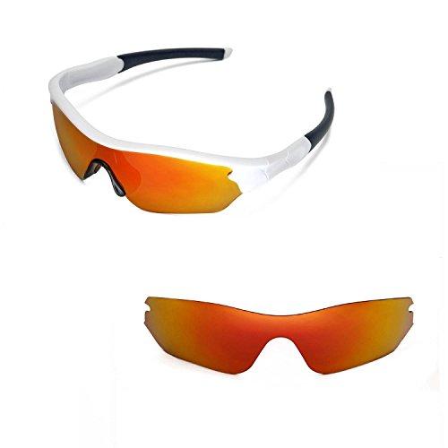 Walleva Ersatzgläser für Oakley Radar Edge Sonnenbrille- Mehrfache Optionen (Feuer Red Mirror Coated - Polarisiert)