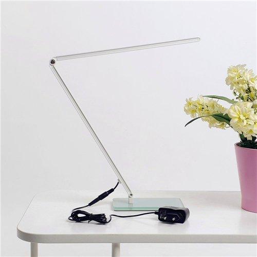 ELINKUME Hohe Helligkeit 7W 600 Lumen Augenschutz LED Schreibtischleuchte Leselampe Berührungsempfindliche Steuerung Dimmbare Faltbare Gehärtetes Glas Sockel Silber
