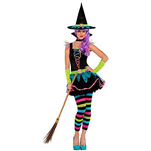 amscan 997499 Neon-Hexen-Kostüm für Teenager, Alter 10–12 Jahre, 1 Stück, 10-12