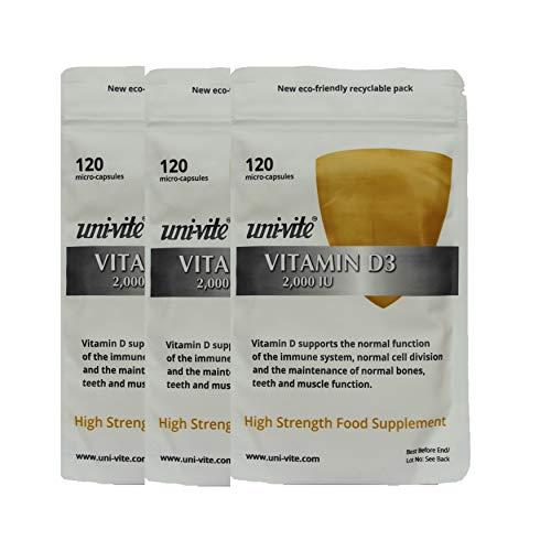 3 for 2 Natural Vitamin D3 2,000IU Optimum Daily Amount - 360 Capsules