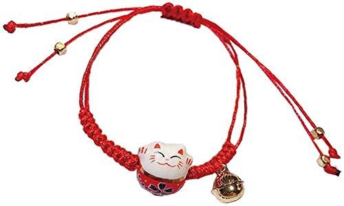 hwljxn Keramisches Kätzchen-Armband Handgewebt Glückkatze Tassel Armreif Schmuck für Frauen