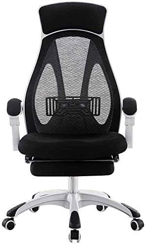 Silla giratoria giratoria de 360 ° para ordenador, silla de ordenador con reposapiés, silla ejecutiva, sencilla y casual de malla, capacidad para nombre, con rotación