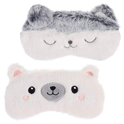 SUSSURRO 2 StüCk Schlafmaske Kinder, SüßE Flauschige Augenmaske Tieraugenmaske mit Verstellbares Gummiband Nachtmaske füR Kinder MäDchen Frauen Reisen Nickerchen Nacht(Eisbär, Katze)