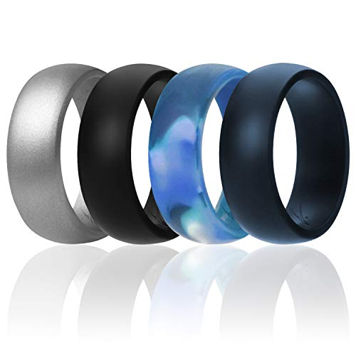 ROQ Silicone Wedding Ring for Men Affordable Silicone Rubber Band, 4 Pack - Arctic Camo, Metallic Look Silver, Black, Blue - Size 9