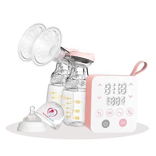 NurtureGoods Smart 2.0 – Ferngelenkt Doppel Elektrische Brustpumpe - 2021 Luxus Komfort Milchpumpenset - 180ml Babyflasche (2x) - Brustpumpe - Inkl. Schnuller…