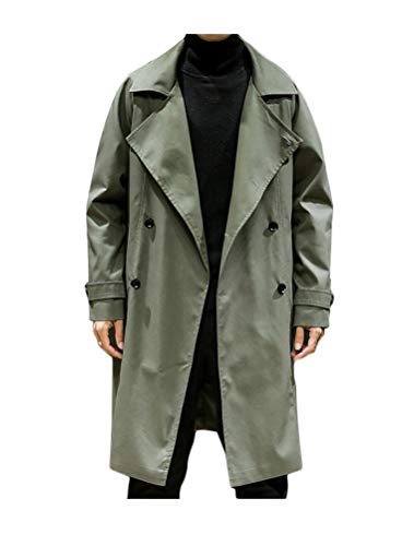 PASOK Men's Double Breasted Trench Coat Casual Lapel Business Mid-Long Windbreaker Jacket with Belt Army Green XL