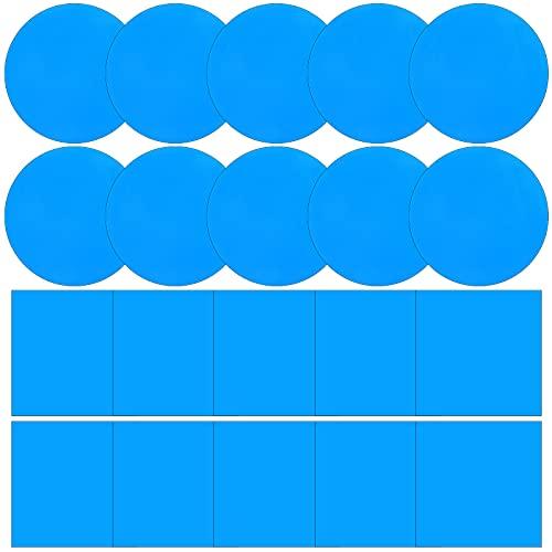 20 Parches de Reparación Autoadhesivos PVC, Parche de Vinilo de Revestimiento de Piscina Cauchos de Vinilo de Reparar Barco para Bote Inflable Kayak Balsa, Azul, Cuadrado y Redondo