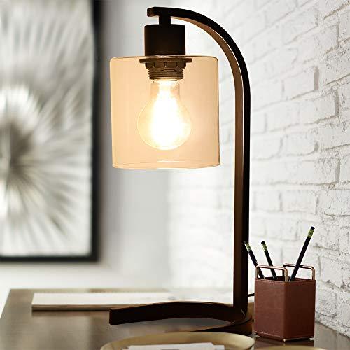 Depuley E27 LED Industrie Tischlampe Schlafzimmer Schwarz, mit Druckschalter, Eisen, U-förmige Basis, Vintage Nachttischlampe Schreibtischlampe Kinder für Wohnzimmer Büro Studio Lesen