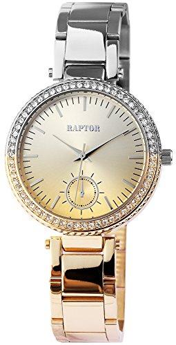 Raptor Damen-Uhr mit zweifarbigen Edelstahl Armband Analog Quarz RA10017