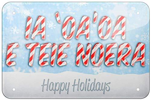 Plaque décorative en fer avec inscription « Merry Christmas in Tahiti » de Tahiti - 20 x 30 cm - Pour la maison, la cuisine, la salle de bain, la ferme, le jardin, le garage - Citations inspirantes