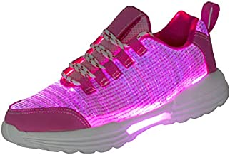 Hotdingding Fiber Optic LED Shoes Light Up Shoes for Women Men USB Charging Flashing Luminous Trainers for Festivals Christmas Party Pink