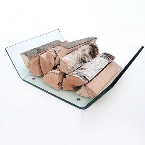 glasshop24 Design Kaminholzschale aus Echtglas - 58,5 x 42,0 x 16,5cm (BxTxH) - Kaminkorb Kaminholzkorb Brennholzschale