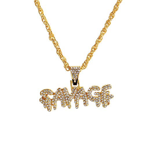 Dragonface Charm Luxus Hip Hop-Dollar-Zeichen-Halskette Glänzendes Messing Iced Out Ketten-Mikro pflaster KubikZircon Savage Halskette Herren-Geschenke (Typ2)