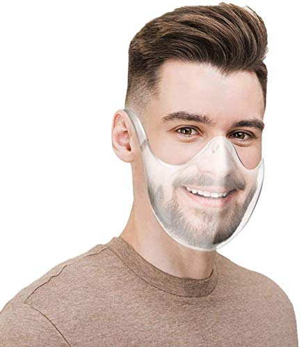 Upgraded clear Breathable Adult Mouth Shield, Face Protection & Washable Clear Face Covering, Reusable Bandanas face scarf
