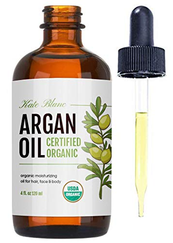 Moroccan Argan Oil, USDA Certified Organic, Virgin, 100% Pure, Cold Pressed by Kate Blanc. Stimulate Growth for Dry and Damaged Hair. Skin Moisturizer. Nails Protector (Regular 4oz)
