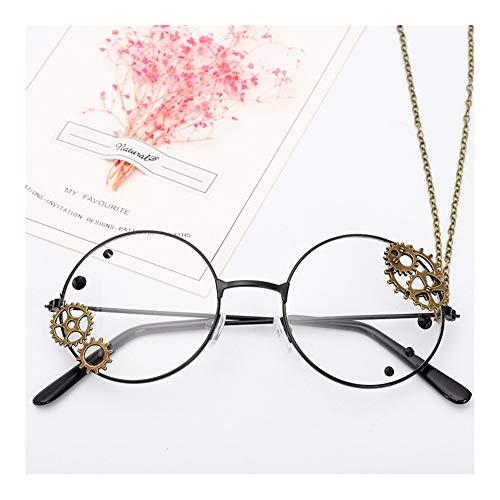 YUNGYE Steampunk-Glas-Rahmen-Frauen-Weinlese-freie Objektiv-Brillen Damen Lolita Gears Kette Dekoration Gold-Brillenfassungen (Frame Color : Black)