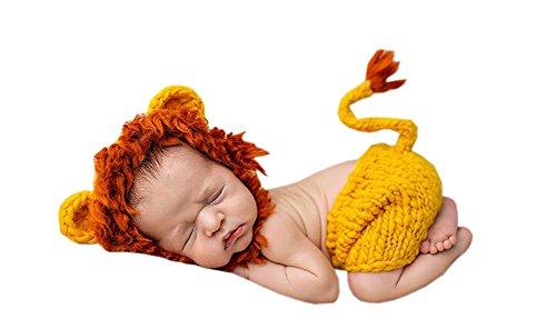 DELEY Unisexe Bébé Lion Costume de Bébé de Vêtements Tenue de Photo Accessoires Crochet Tricot Chapeau de Pantalon Set 0-6 Mois
