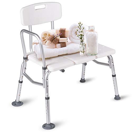 COSTWAY Duschhocker höhenverstellbar, Badhocker für die Dusche, Duschsitz mit Rückenlehne und Armlehne, Duschstuhl 150kg belastbar