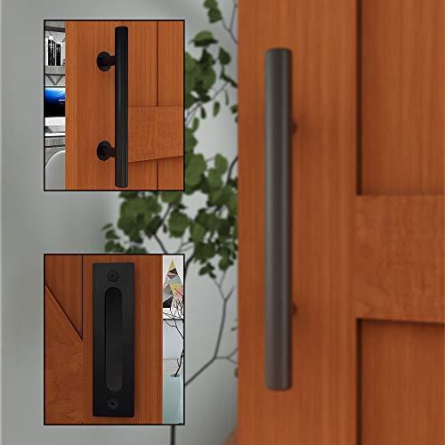 TSMST - Tirador para puerta corredera, color negro, de madera, 30 cm