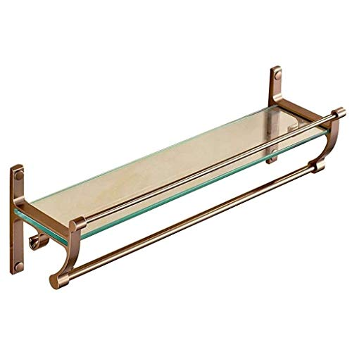 Badezimmer Storage & Organisation Badezimmer Regal Dusche-Glasverkleidung Regal Kupfer Spiegel-Front-Wandhalter Startseite Kosmetik Desk (Farbe: Gold Größe: 50 * 15 5 * 13 5 cm)
