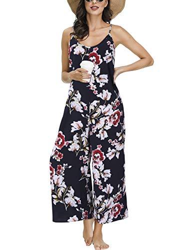 Auxo Mujeres Floral Mono Sin Mangas Strappy Cintura Suelta Casual Playsuit Verano Pantalones Largos Mameluco