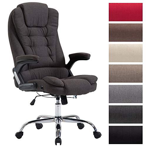 XXL Chefsessel Thor mit Stoffbezug, max. belastbar bis 150 kg, Bürostuhl mit Armlehnen, höhenverstellbar, Drehstuhl mit dickem Polster, Farbe:dunkelgrau