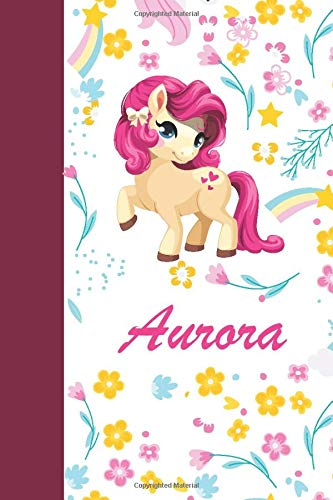 Aurora: Personalized Sketchbook For Girls With Pink Name. Sketch Book for Princesses. Perfect Magical Unicorn Gifts for Her as Drawing