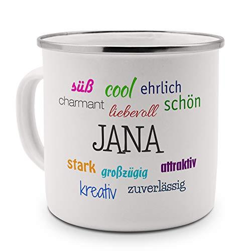 printplanet Emaille-Tasse mit Namen Jana - Metallbecher mit Design Positive Eigenschaften - Nostalgie-Becher, Camping-Tasse, Blechtasse, Farbe Silber