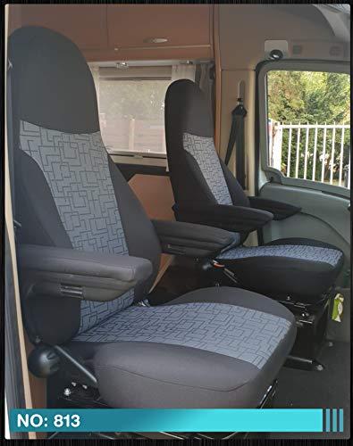 Maß Sitzbezüge kompatibel mit Wohnmobil Fahrer & Beifahrer Farbnummer: 813 (schwarz grau)