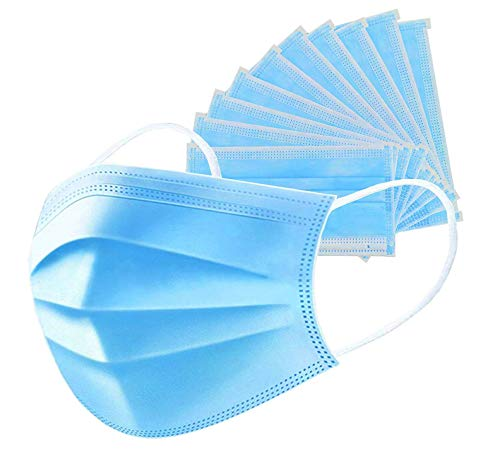 Anti-Spitting Protective Mask Dustproof Cover,Prevent Saliva Safety Face Shields,Blue 50 PCS