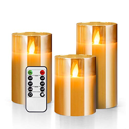 Gold Glass Battery Operated Candle with Timer Remote, Led Flameless Candles...